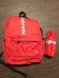 Red Supreme Nylon Backpack-Small/Medium BRAND NEW + BONUS BAG