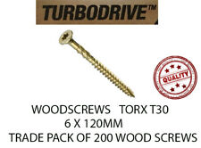 PREMIUM WOOD SCREWS TORX CSK COUNTERSUNK 6 X 120MM YELLOW T30 TRADE PACK QTY 200