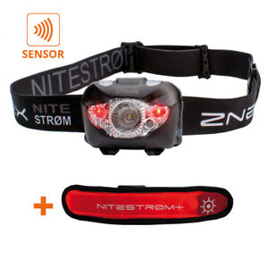 ZNEX NITESTRØM   168 Lumen IPX6 LED Stirnlampe mit Gestensteuerung, Rotlicht,