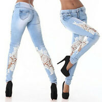 New Women's Sexy Slim Fit Skinny Lace Stretch Ladies Denim Jeans Blue Ramp Pants