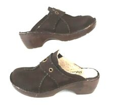"""Womens 7 Bjorndal """"SYGMA"""" Faux Fur Lined Brown Suede Mules Winter Clogs Shoes"""