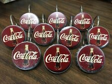 Vintage 90s Coca-Cola Bottle Cap Shower Curtain Hook Ring Set of 10 Partial Set