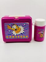 Vintage Pink Garfield Lunch Box Complete with Thermos / Cup and lid