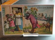 Vintage 1880s Trade Card - Black Americana Domestic Sewing Machines E. Newell