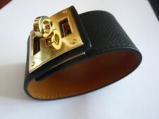 Hermès bracelet cuir Kelly Dog  - coloris noir