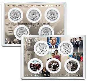 JOHN F. KENNEDY JFK100 Birthday 2017 JFK Half Dollar 5-Coin Set Assassination