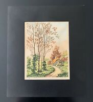 "Vintage ""The Cottage"" Signed Matted Print - Paris Etching Society"