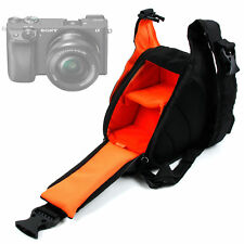 Triangle Black & Orange Shoulder Sling Bag Case For Sony A6300 Camera