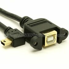 USB 2.0 Right Angle Mini-B to B Female Extension Cable - Panel Mount