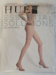HUE Essential Solutions Clear Control Pantyhose, Black, Size 4