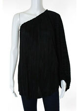 LAGENCE Black Accordion Pleat Ruched Long Sleeve One Shoulder Blouse Top Sz S