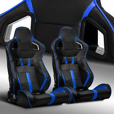 2 x Reclinable Black/Blue Strip PVC Leather Left/Right Racing Bucket Seats