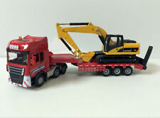 1:50 Scale Die-Cast Toy Model Low Loader With Excavator Engineering Vehicles