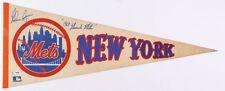 PSA COA rare Nolan Ryan Autograph 1969 Miracle Mets Pennant NY Rangers Angels