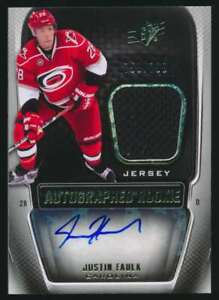 2011-12 SPx Autographed Rookie Justin Faulk RC Auto Jersey 759/799 #174