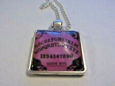 Ouija Board Glass Pendant Necklace Dark Pink ( Handmade )