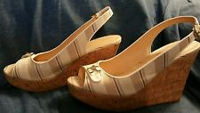Tommy Hilfiger  Women US 10 white tan and gold buckle Wedge Sandal 4.5 inches