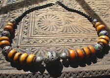 Moroccan large tarnished amber resin and enamel + agate beads necklace