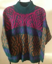 VTG 1980s BENETTON MOHAIR BLEND WMNS SWEATER MADE IN ITALY Mock-neck Baggy Large