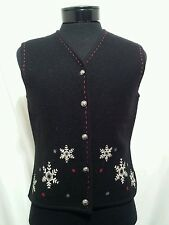 Woolrich Women's Embroidered Wool Snowflake Winter Christmas Vest Black Sz L