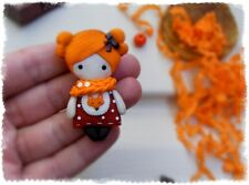Girl brooch HANDCRAFTED Fashion polymer clay kids cute children Pin HANDMADE