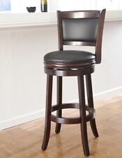 Wooden Swivel Bar Stools With Back Inches Seat Cushion Brown Wood Counter