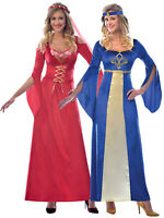 Ladies Maid Marion Costume Womens Robin Hood Fancy Dress Outfit Medieval Queen