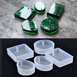 5pcs Silicone Mold Resin Jewelry Making Mould Epoxy Pendant Craft DIY Tool UK~