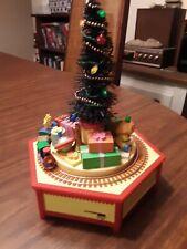 Vtg Enesco Christmas Morning Music Box with Moving Train