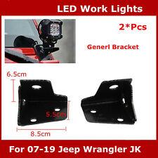 2X Windshield Mounting Bracket Fit 07-19 for Jeep Wrangler JK LED Work Light Pod