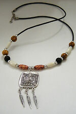 """MAYAN GOD Chac NECKLACE Tibet Silver Feathers AZTEC BONE Beads 23""""-25"""" Cord NEW"""