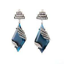 Boucles d'Oreilles Clips Argenté Filigrane Grand Diamentine Bleu Art Deco X12