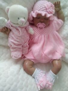 """🌸 Hand knitted baby cardigan/angel top set 0-3 months / reborn doll 19"""" - 22"""""""