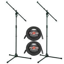 2-Pack Tama MS455BK Iron Works Tour Tripod Boom Microphone Stands + Cables