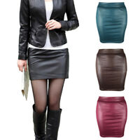 Women PU Leather Bodycon Slim Short Mini Office Lady Pencil Skirt