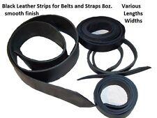 "Black Leather 8oz. Heavy Latigo 1"" or 1.25"" x 40"" Smooth Belt Strap Strip NEW"