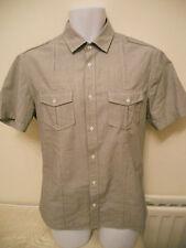 BURTON -  GREY FINE STRIPED SHORT SLEEVED Sleeved Shirt Size SMALL
