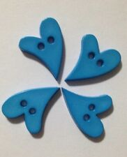 4x Bright Blue Cutesy Heart Buttons - Australian Supplier