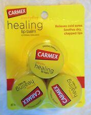 New X3 Carmex Moisturizing Lip Balm Original Formula Jar Fresh, 3 Jars