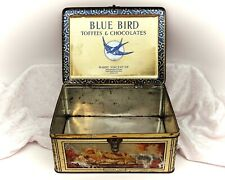More details for british castles-gold and illustrated large vintage blue bird toffee tin