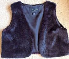 Outdoor Edition Girls Vest Size Small Black Faux Fur Excellent Shape So Darling