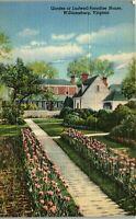 Garden at Ludwell Paradise House Williamsburg VA Vintage Postcard AU1
