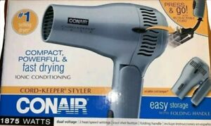 Conair Hair Blow Dryer Ionic Folding Handle Retractable Cord Keeper Cool Shot