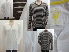 2er Set Langarm Shirt Tom Tailor Knöpfe Weiß + Shirt TCM braun gestreift L 40 1A