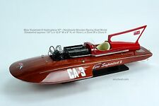 "MISS Supertest III Hydroplane 30"" - Handmade Wooden Racing Boat Model"