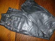 "LADIES  BLACK  REAL  LEATHER  STRAIGHT LEG JEANS SIZE UK s --24"" WAIST"