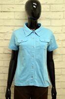 Camicia LEE Donna Taglia Size L maglia Shirt Blusa Woman Cotone Manica Corta Blu