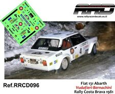 DECAL/CALCA 1/43; Fiat 131 Abarth; Vudafieri-Bernachini; Rally Costa Brava 1981