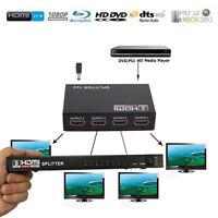 Full HD 1X4 1x2 X8 4Port Hub Repeater v1.3 3D 1080p Amplifier HDMI Splitter Box