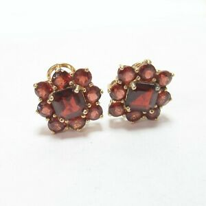 Estate 14K Yellow Gold Natural Deep Red Garnet French Clip Earrings 9.00 Cts